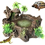 PINVNBY Resin Reptile Platform Artificial Tree Trunk Reptile Tank Decor Food Water Dish Bowl for Bearded Dragon,Lizard, Gecko