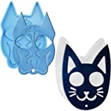 Deokke 2 Pack Self Defense Cat and Dog Keychain Silicone Mold DIY Handmade Silicone Mold Resin