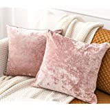 HORIMOTE HOME Pack of 2 Crushed Velvet Pink Cushion Covers for Sofa Couch Chair, Square Cushion Decorative Pillowcases for Be