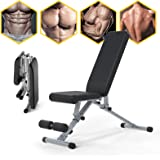Adjustable Weight Bench, Li·Fitness Utility Workout Bench for Home Strength Training, Foldable Gym Incline Decline Bench for