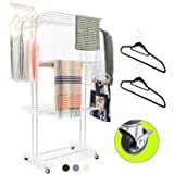 MIZGI Clothes Drying Rack,3 Tier Rolling Dryer Clothes Hanger,Collapsible Garment Laundry Rack with Foldable Wings and Caster