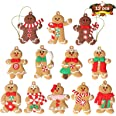 12pcs Gingerbread Man Ornaments for Christmas Tree - Assorted Plastic Gingerbread Figurines Ornaments for Christmas Tree Hang