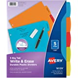 "Avery Big Tab Write & Erase Durable Plastic Dividers, 5 MulticolorTabs, 1 Set (16129),8-1/2"" x 11"""