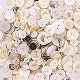 Esoca 650Pcs Shell Buttons for Crafts Assorted Sizes Resin Shell Craft Buttons for DIY Crafts Sewing Children's Manual Art Bu