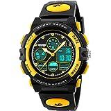 男の子腕時計50M防水スポーツLEDアラームストップウォッチデジタル子供クォーツ腕時計キッズイエロー