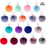 BTSD-home 18pcs Pom Pom Keychain Faux Rabbit Fur Fluffy Puff Ball Keychain for Women (Mix Colors)