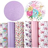 """David accessories 6 Pcs 7.8"""" x 13.3"""" (20 cm x 34 cm) Solid Color Floral Printed Faux Leather Fabric Sheets Include 2 Kinds of"""