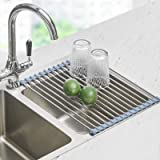 Over the Sink Dish Drying Rack, Seropy Roll Up Dish Drying Rack Kitchen Rolling Dish Drainer, Foldable Sink Rack Mat Stainles