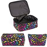 OXYTRA Makeup Bag Set 3PCS Leather Travel Cosmetic Bag - Butterfly Pink Organizer Portable Toiletry Bags (3PCS Butterfly Blac