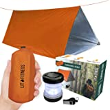 LIT FITNESS Survival Tent Emergency Shelter with Titan Paracord, 2 Person Survival Kit Mylar Tent Includes Survival Lamp and