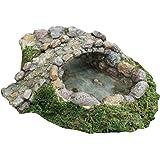 TG,LLC Miniature Fairy Garden Stone Pond and Bridge Ornament Dollhouse Decor Accessory
