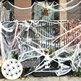 Fake Spider Web Halloween Decorations Props 1000 sqft with 30 Spiders Halloween Party Supplies for Indoor Outdoor