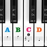 Piano Stickers for Keys, Eison Colorful Piano Keyboard Stickers for 88/61/54/49/37 Full Set Stickers Kids Learning Piano, Rem