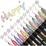 Dazzle Markers, Double Line Outline Pen Markers, 12 Colors Marker Pen Magic Shimmer Paint Pens for Highlight for Drawing/Pain