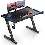 "Eureka Ergonomic Z1-S Gaming Desk 44.5"" Z Shaped Office PC Computer Gaming Desk Gamer Tables Pro with LED Lights Controller S"
