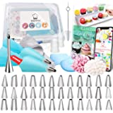 Kitchwise Cake Decorating Supplies Kit Tips 62 Pieces, 36 Stainless Steel Icing Tip Set, 2 Reusable Coupler and 20 Pastry Bag
