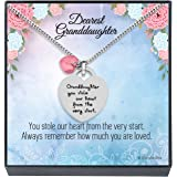 ''Granddaughter You Stole Our Heart'' Inspirational Sentimental Message Heart Necklace Jewelry Gift from Grandma Grandpa Gran