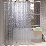 Extra Long Shower Curtain Liner 84 Inches Long, Mildew Resistant Marble Shower Curtain 72x84 Inch with 3 Magnets, Heavy Duty,