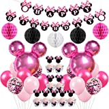 Minnie Mouse Birthday Party Supplies Decorations Minnie Mouse Balloons Cupcake Toppers Wrappers for Girls 1st 2nd 3rd Birthda