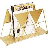 MyGift Modern Geometric Gold-Tone Metal Desktop Magazine Holder Rack