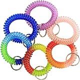 6 Pcs Wrist Coil Wrist Keychain BIHRTC Mix Color Plastic Coil Wrist Coil Stretch Wristband Elastic Stretchable Spiral Bracele