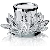 QF Clear Lotus Flower Candle Tealight Holder Candlestick,Set of 2,Votive Candle Holder
