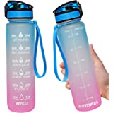 Water Bottle with Time Marker 1L with Straw and Filter Tritan BPA Free for Fitness Gym and Outdoor Sports