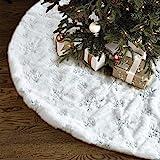 Christmas Tree Skirt - 48 inches Large White Luxury Faux Fur Tree Skirt Christmas Decorations Holiday Thick Plush Tree Xmas O