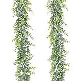 Artiflr Artificial Vines Faux Eucalyptus Garland, 2 Pack Fake Eucalyptus Greenery Garland Wedding Backdrop Arch Wall Decor, 6