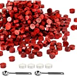 360Pcs Metallic Red Seal Wax Beads Kit, Mornajian Sealing Wax with 2 Melting Spoon and 4 Candles for Wax Seal Stamp