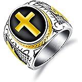 Rockyu ジュエリー ブランド 人気 リング メンズ ネイティブアメリカン ゴールド 指輪 14号 ステンレス 十字架