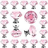 Crystal Glass Knobs, Pink