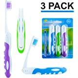Travel Toothbrush, On The Go Folding Feature, medium bristle brushes (2 pack) 3 Pack