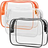 Clear Toiletry Bag, Packism 3 Pack TSA Approved Toiletry Bag Quart Size Bag, Travel Makeup Cosmetic Bag for Women Men, Carry