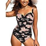 Hilor Women's One Piece Swimsuits Front Twist Bathing Suits Tummy Control Swimwear Retro Inspired Monokini