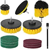 12PCS Drill Brush Tub Cleaner Grout Power Scrubber Cleaning Combo Set Tool Kit (YELLOW)
