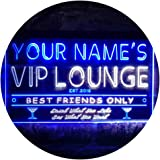 Personalized Your Name Est Year Theme VIP Lounge Bar Club Pub Dual Color LED Neon Sign White & Blue 300 x 210mm st6s32-qi1-tm