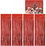 Moohome 4 Pack 3ft x 8ft Red Foil Fringe Curtains Backdrop Door Window Curtain Party Decoration (4-Pack, Red)