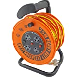 UR24025R ULTRACHARGE 25M Handyman Ext Reel with 4 Way Surge Power Board UR240/25R 25 Metre Cable, Heavy Duty Reel with Soft G