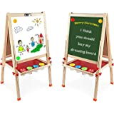 Arkmiido Kids Easel Double-Sided Whiteboard & Chalkboard Standing Easel with Bonus Magnetics, Numbers and Other Accessories f