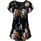 Luranee Womens Long Sleeve Tunic Tops V Neck Flowy Pleated Printed Blouses