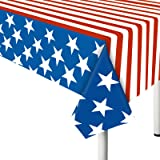 """4th of July Tablecloth, 2 Pack American Flag Plastic Table Covers(54""""x72"""") for Patriotic Party Supplies, Decorations for Inde"""