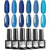 TOMICCA Blue Gel Polish Set Soak Off UV LED Gel Nail Art Shiny or Matte (019)