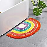 HelloTree Cute Doormat for Kids - Microfiber Absorbent Bathroom Mats - Front Door Mat Carpet Floor Rug, Rainbow Shape