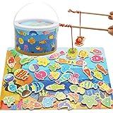 VIMICOO マグネット式釣りゲーム 木製パズル 知育玩具 親子ゲーム 子供 おもちゃ 楽しい おもしろい 魚釣り バケツ 安全無毒 水なし 釣り竿 ギフト 出産祝い