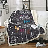 Bedbay Music Blanket Black Doodle Icons Throw Blanket Different Music Notes Printed Design Guitar Piano Blanket Sherpa Soft B