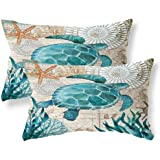 """ULOVE LOVE YOURSELF Pillow Cover Home Decorative Cushions Cotton Linen Throw Cushion Case, Cotton Linen, Yz-sea Turtle, 18""""×1"""