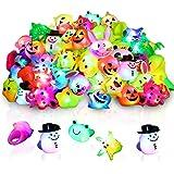 48 Pack Light Up Rings for Kids Birthday Party Favors Led Jelly Rings Flashing Finger Lights Glow in the Dark Rings Bulk Priz