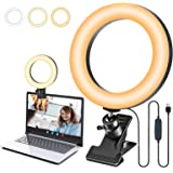 """8"""" Ring Light for Laptop Computer with Clip, USGohin Video Conference RingLight with Clamp, 3 Modes 10 Brightness Level, Desk"""