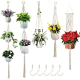 5 Pack Macrame Plant Hangers Different Tiers with 5 Hooks, Hanging Planters Set Boho Home Decor Handmade Cotton Rope Decorati